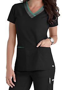 Grey's Anatomy Color Block 3-pocket V-neck Scrub Tops