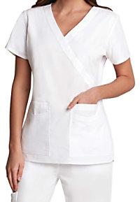 Prima By Barco Mock Wrap Fashion White Scrub Tops