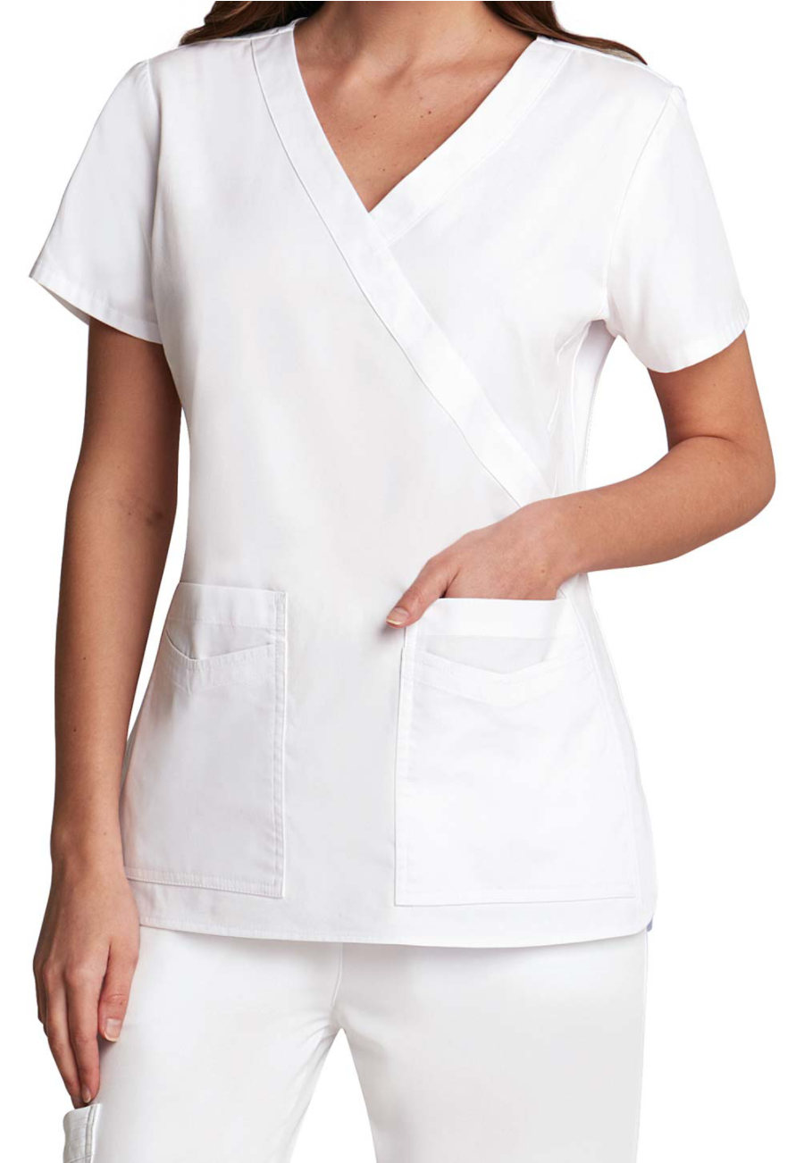 Prima By Barco Mock Wrap Fashion White Scrub Tops - White - 4X plus size,  plus size fashion plus size appare
