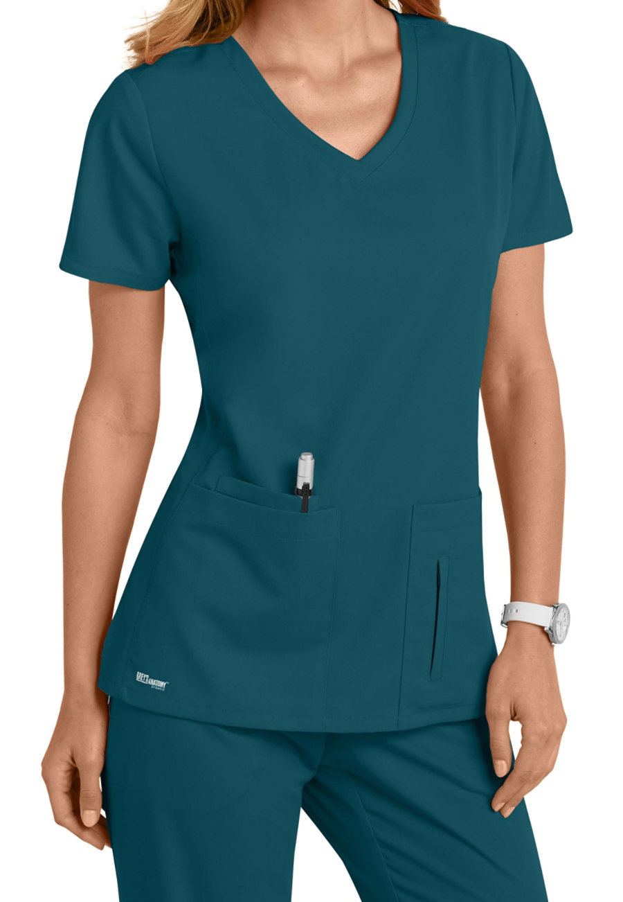 Grey's Anatomy 4 Pocket Crossover V-neck Scrub Tops