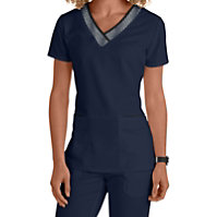 Grey's Anatomy 3 Pocket V-neck With Grid Trim Tops