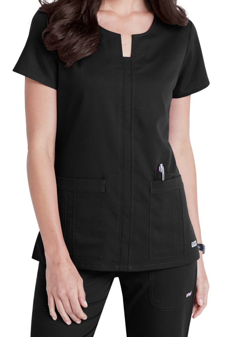 Grey's Anatomy Notched Neck 3 Pocket Scrub Tops