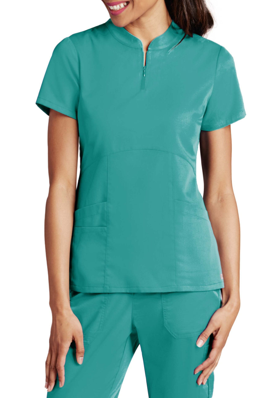 Grey's Anatomy Mandarin Zip Collar Scrub Tops - Legend