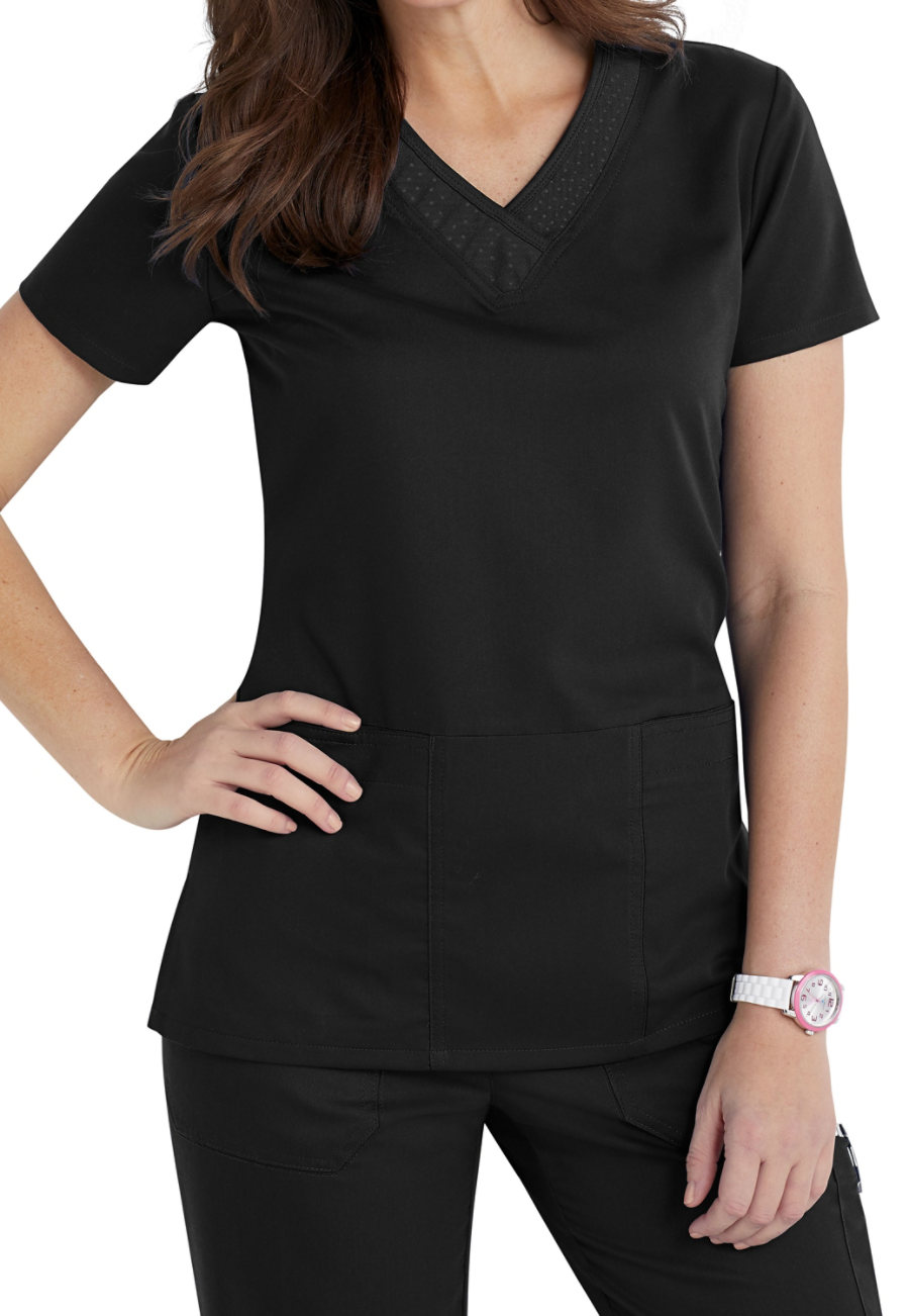 Grey's Anatomy Tonal Printed Neckline Scrub Tops Variegated Dot