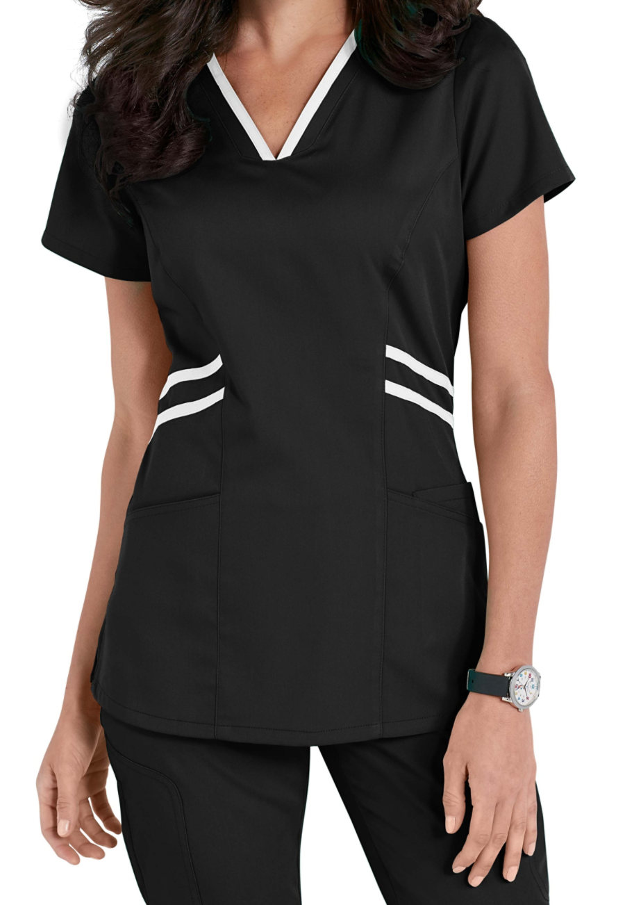 Grey's Anatomy Marquis Contrast Trim V-neck Scrub Tops