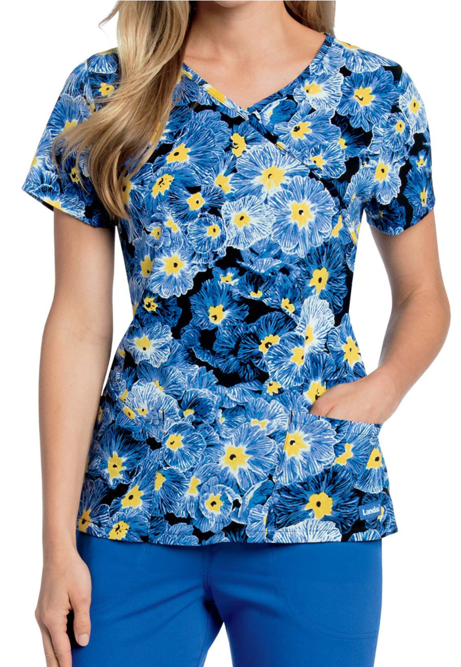 Ladau Smart Stretch Morning Glory Crossover Print Scrub Top