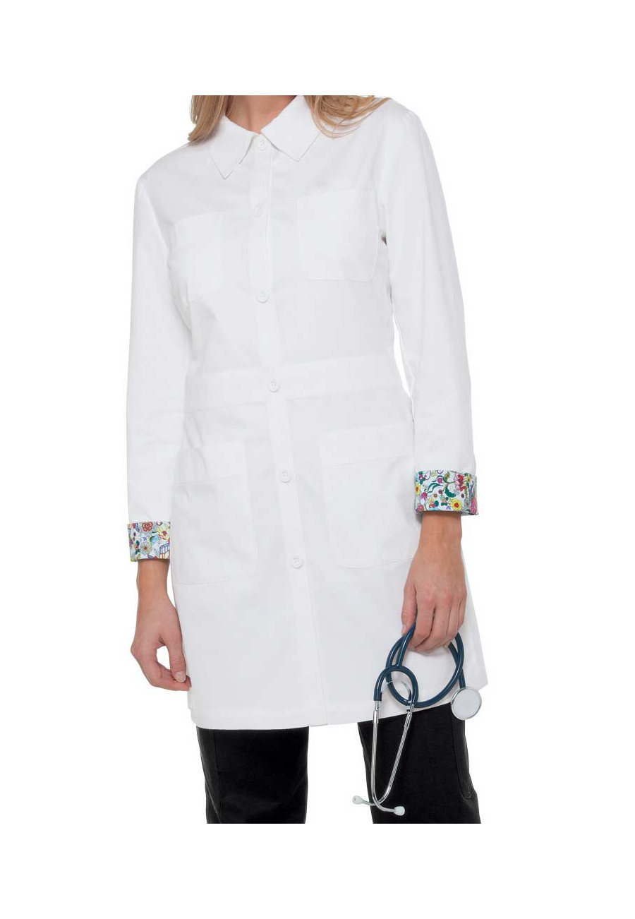 Koi Rebecca 35 Inch Lab Coats - White - 3X plus size,  plus size fashion plus size appare