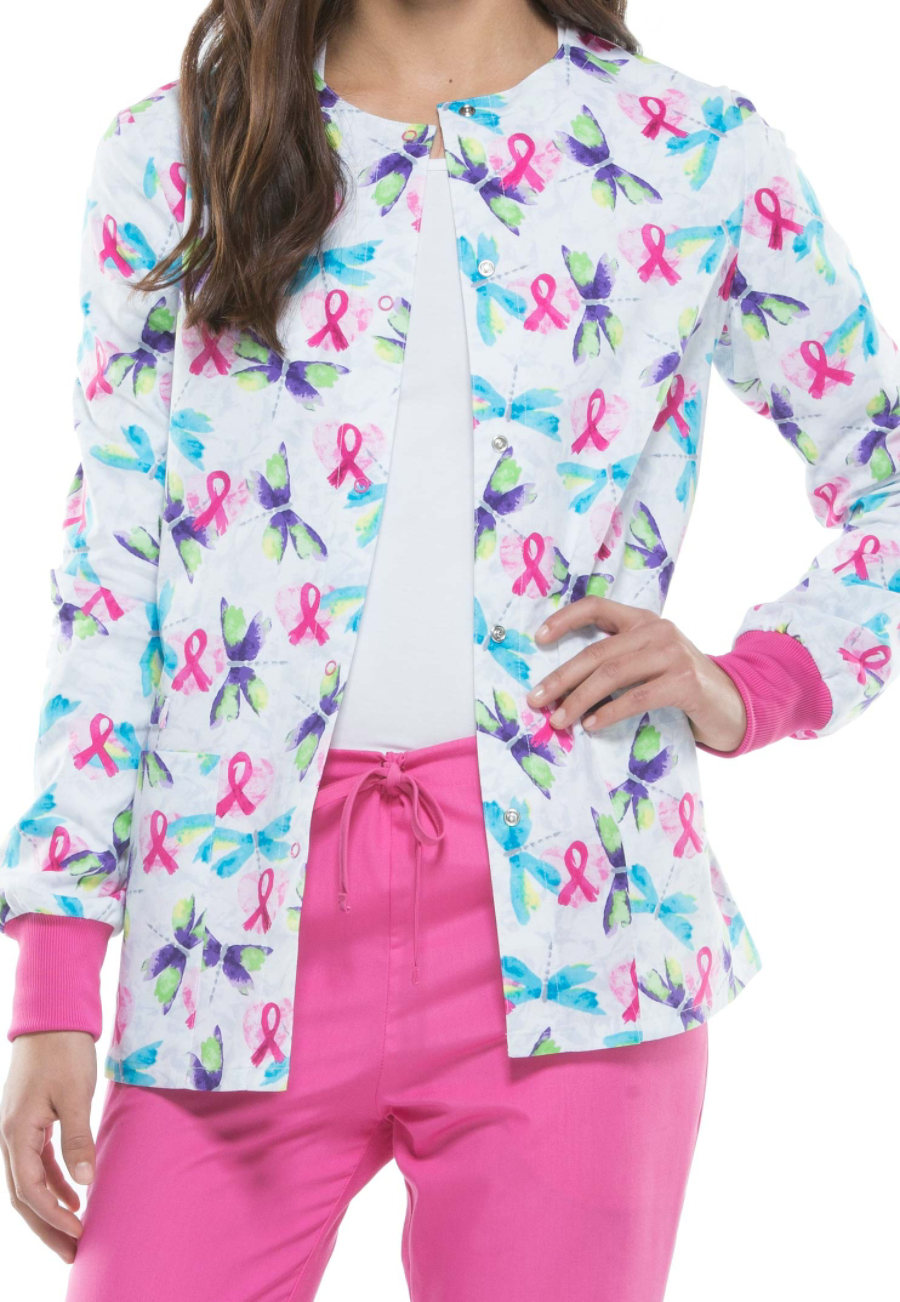 Cherokee Flying Hearts Print Scrub Jackets - Flying Hearts