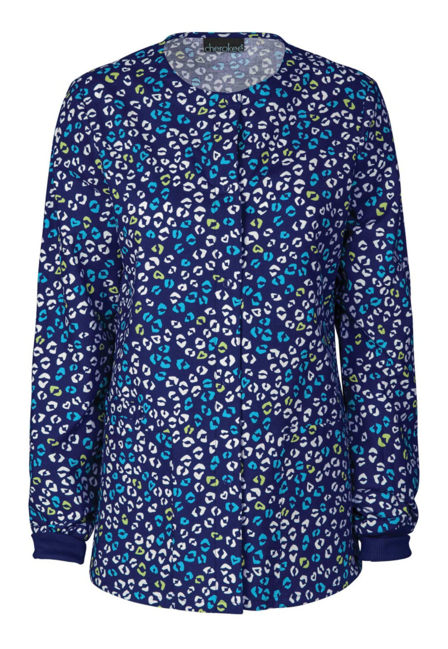Cherokee Sweet Your Heart Out Print Scrub Jacket - Sweet Your Heart Out