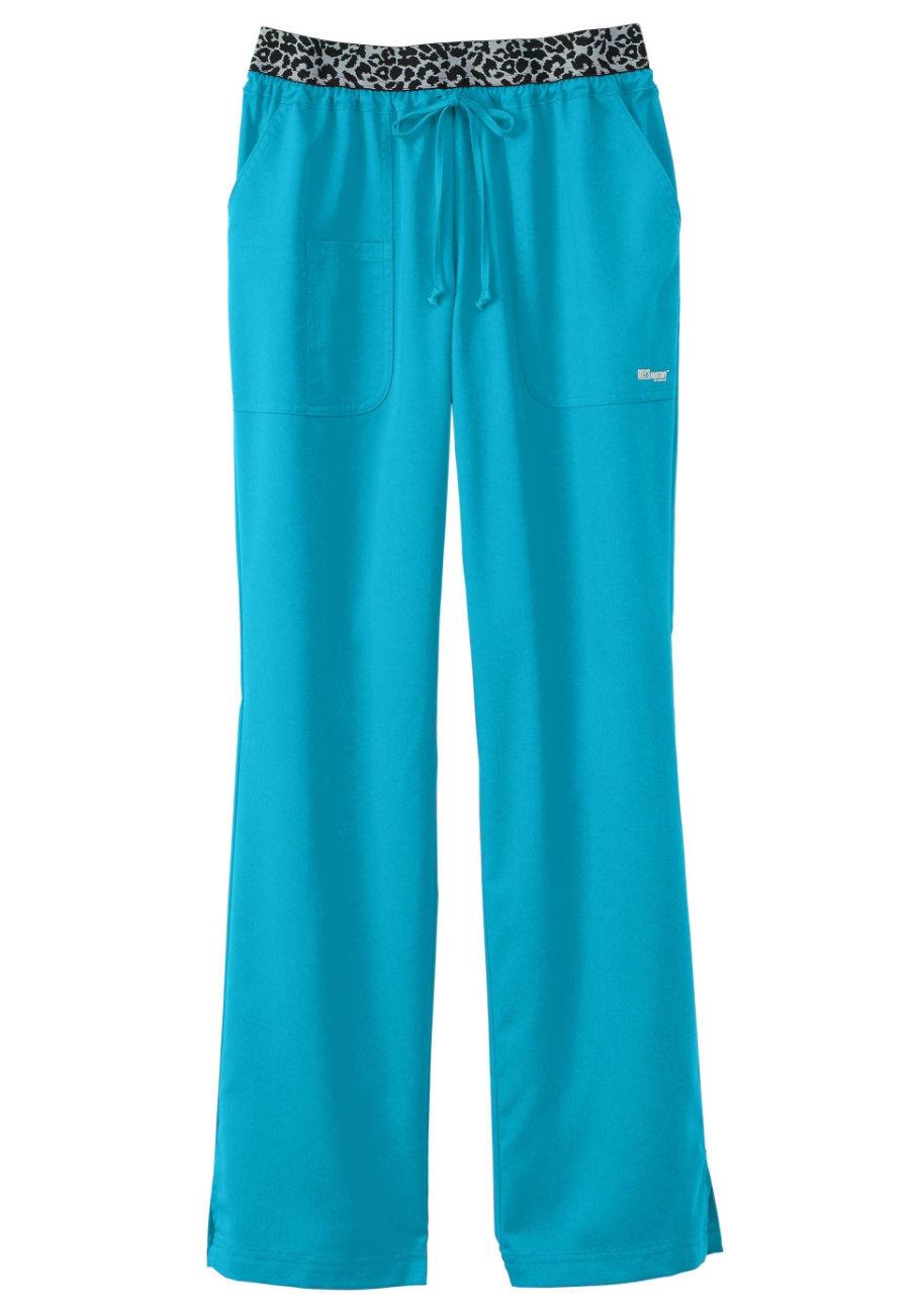 Grey's Anatomy Exclusive Leopard Trim Waistband Scrub Pants - Capri/ Leopard - PXS plus size,  plus size fashion plus size appare
