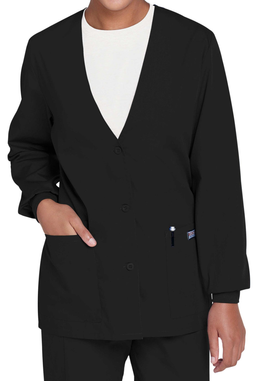 Cherokee Workwear Cardigan Warm Up Scrub Jacket - Black - 5X plus size,  plus size fashion plus size appare