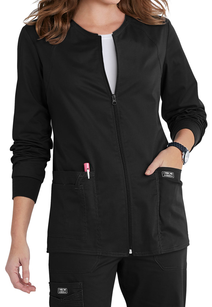 Cherokee Workwear Core Stretch Zip Front Warm Up Scrub Jackets - Black - 2X plus size,  plus size fashion plus size appare