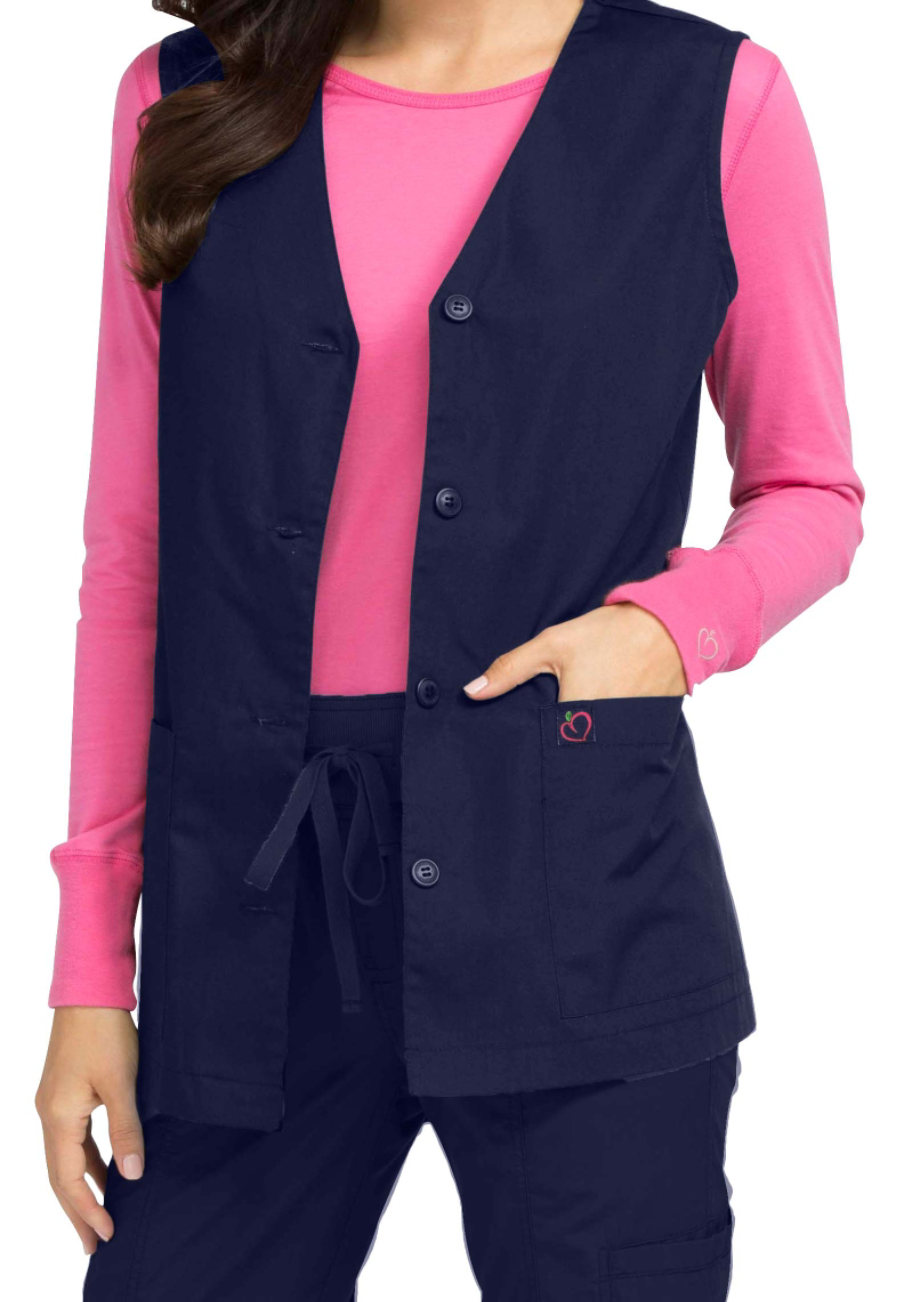 Med Couture Womens Button Solid Scrub Vest Navy Xs