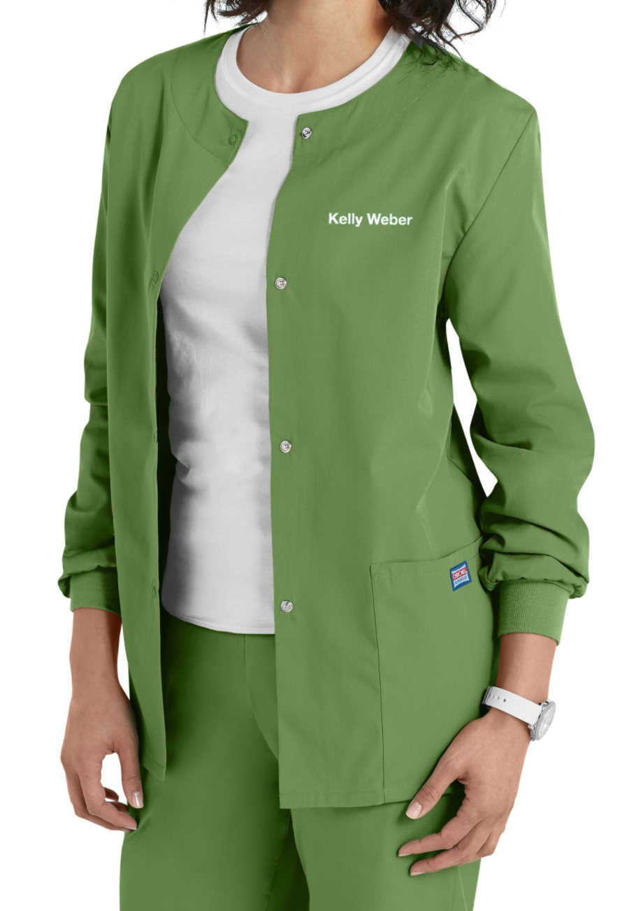 Cherokee Workwear Snap Front Warm-Up Scrub Jacket - Aloe - 2X plus size,  plus size fashion plus size appare