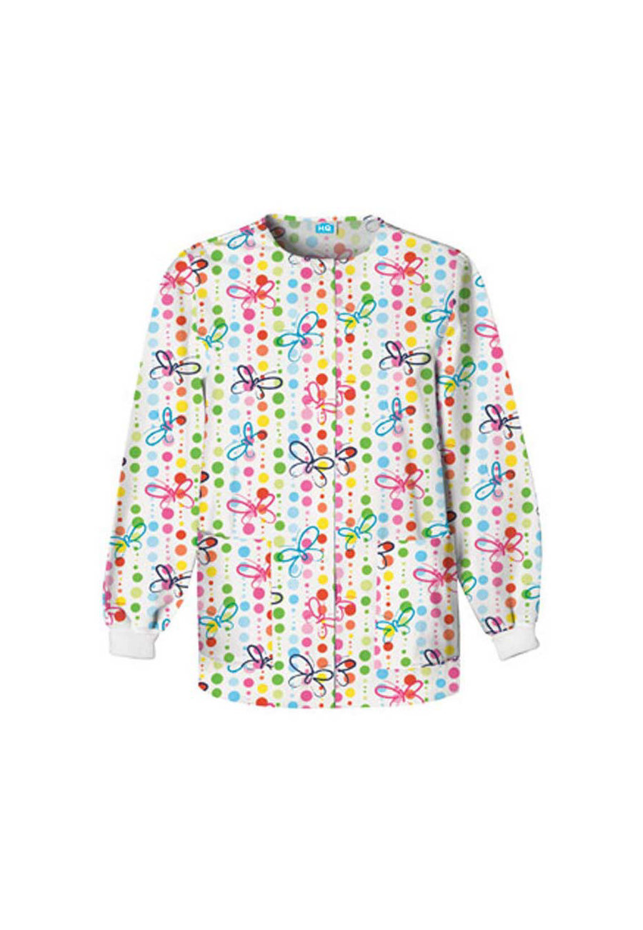 Cherokee Scrub HQ Butterfly Dots Print Scrub Jackets - Butterfly Dots - XS plus size,  plus size fashion plus size appare