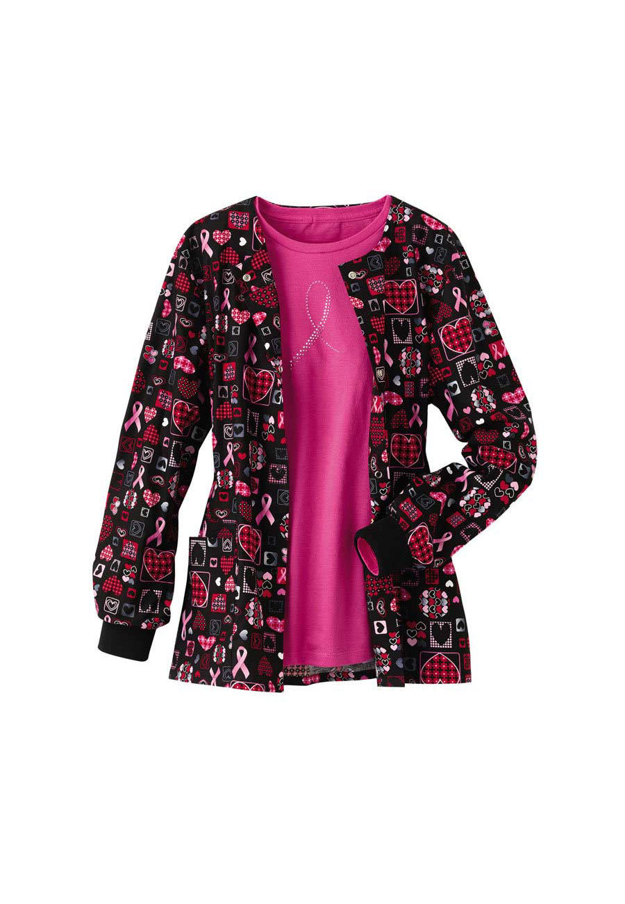 Cherokee Scrub HQ Caring For The Cause Print Scrub Jackets - Caring for the Cause - M plus size,  plus size fashion plus size appare