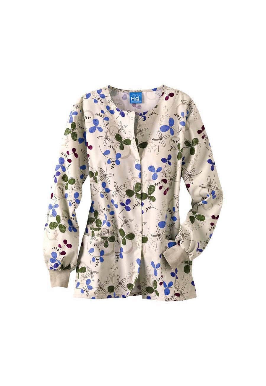 Cherokee Scrub HQ Clover Park Print Scrub Jackets - Clover Park - 2X plus size,  plus size fashion plus size appare