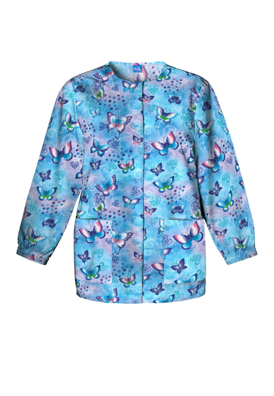 Cherokee Scrub HQ Fly By Night Print Scrub Jackets - Fly By Night - L plus size,  plus size fashion plus size appare