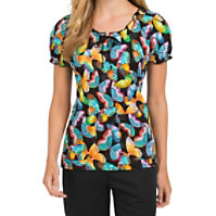 Med Couture Burst Of Color Peasant Print Tops