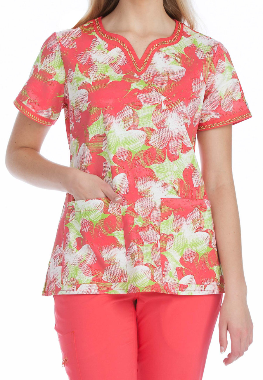 Med Couture Hello Sunshine Print Scrub Top