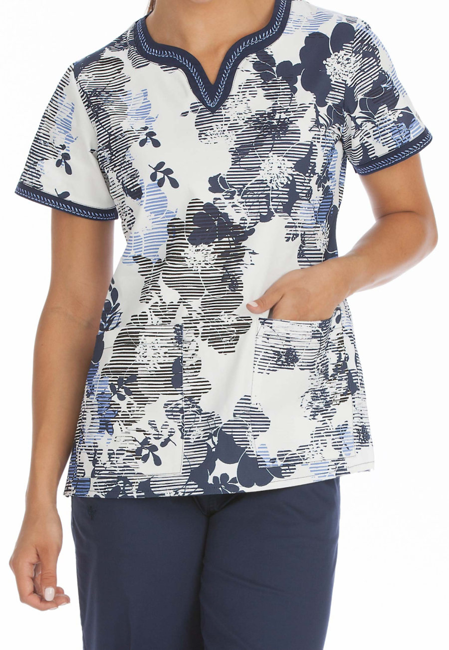 Med Couture Linear Blossoms Print Scrub Top