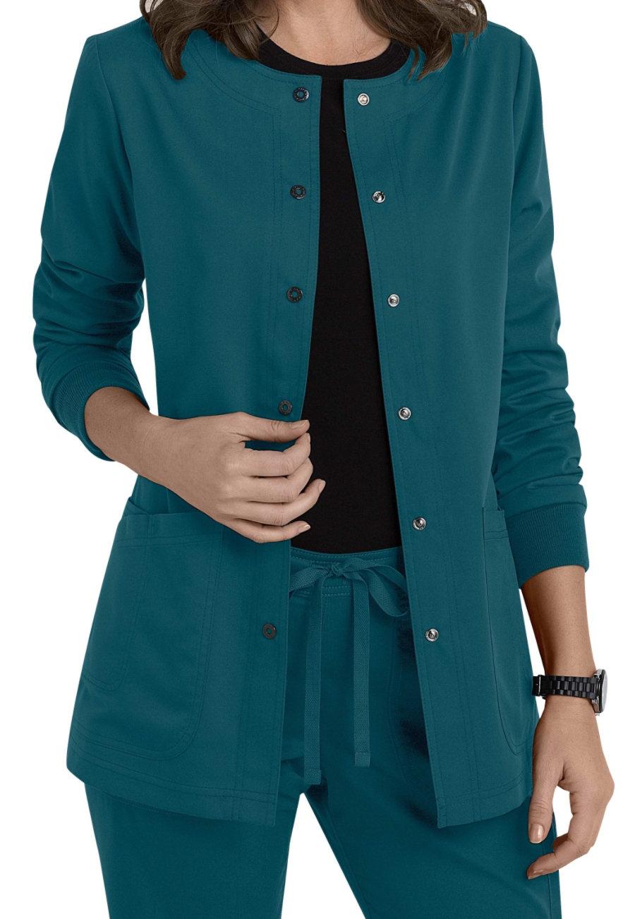 Grey's Anatomy 4 Pocket Snap Front Scrub Jackets