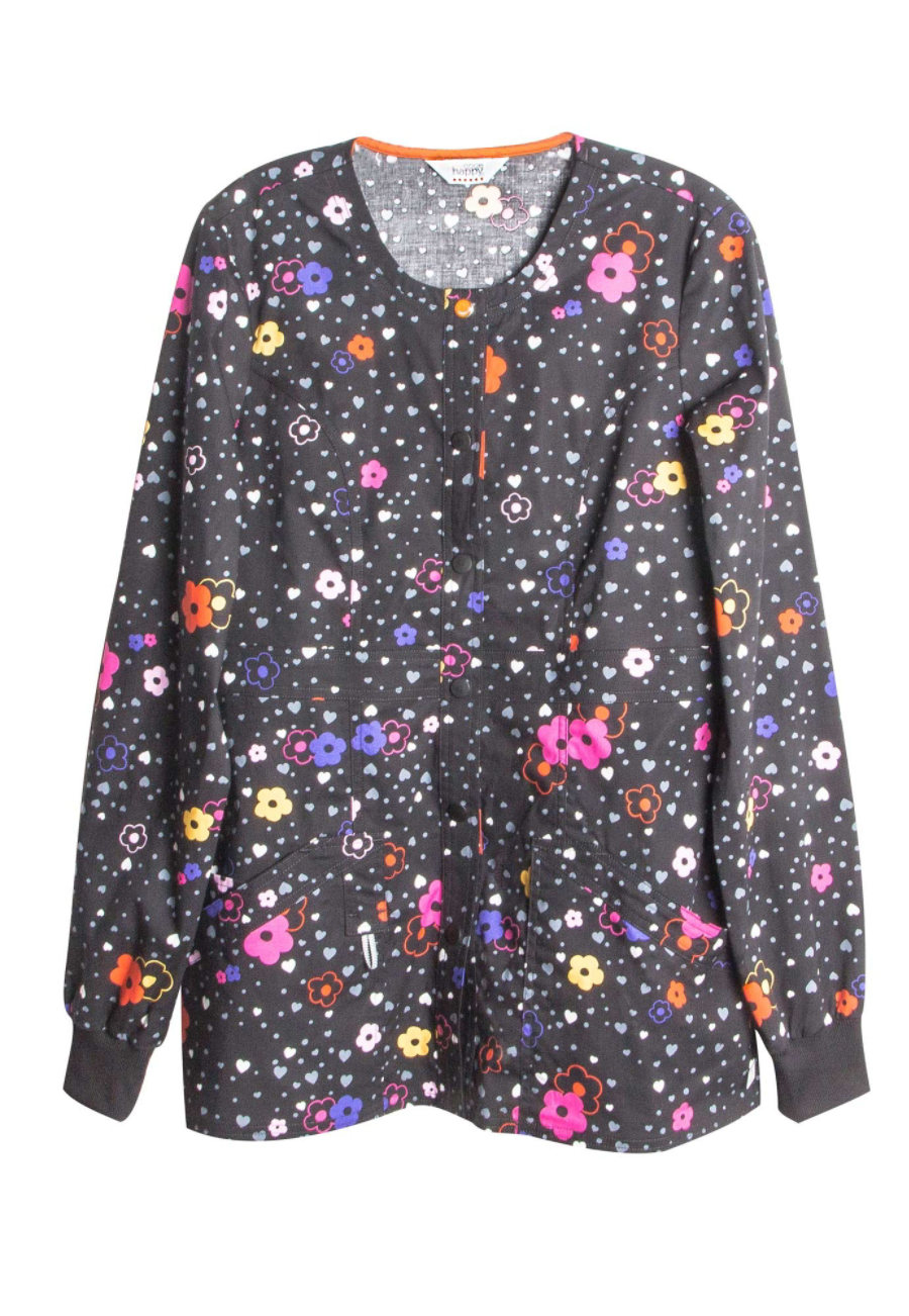 Code Happy More Flower To You Print Scrub Jackets With Certainty - More Flower to You