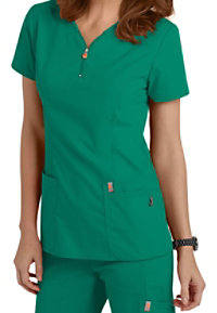 Code Happy Bliss Zipper V-neck Scrub Tops With Certainty