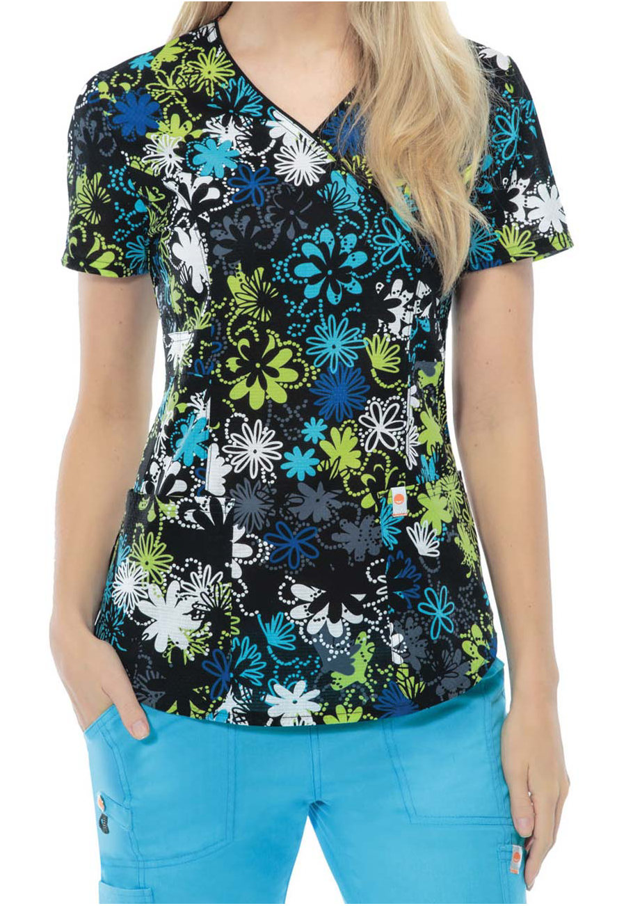 Code Happy Dots Of Daisies Print Scrub Tops With Certainty - Dots of Daisies