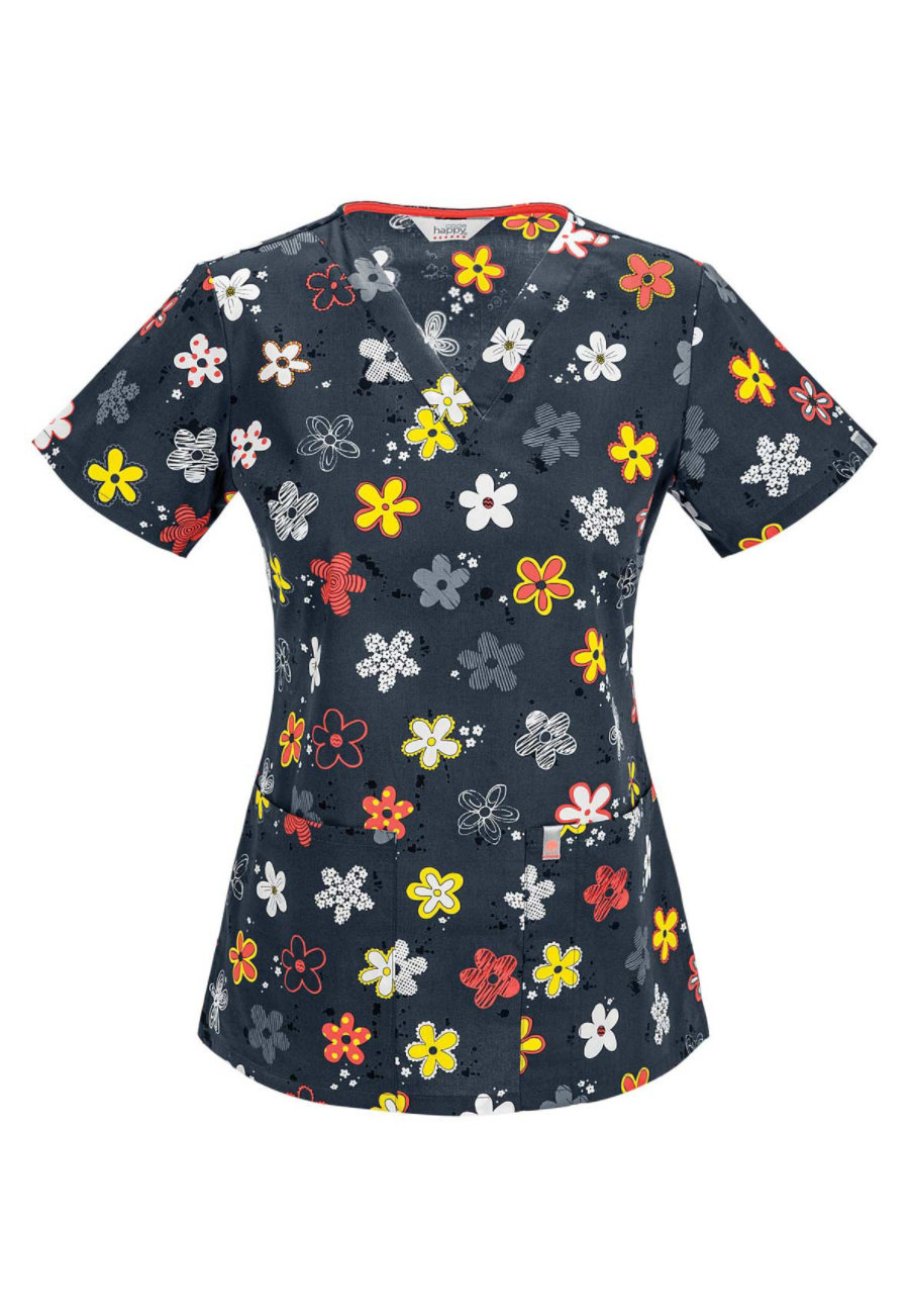 Code Happy Doodling Daisies V-neck Print Scrub Tops With Certainty - Doodling Daisies
