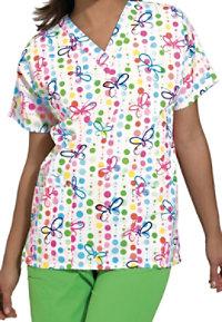 Cherokee Scrub HQ Butterfly Dots Print V-neck Scrub Tops