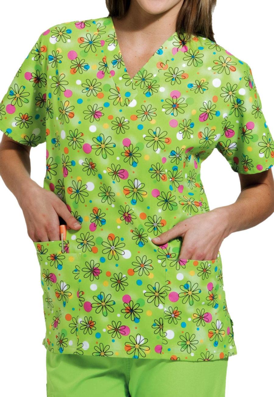 Cherokee Scrub HQ Dazzles V-neck Print Scrub Tops - Dazzles - XS plus size,  plus size fashion plus size appare