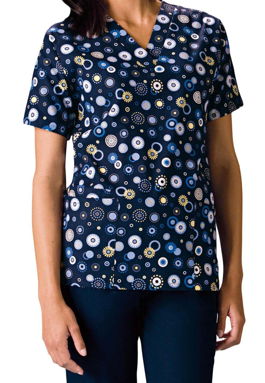Cherokee Scrub HQ Dots Wonderful Print Scrub Tops - Dots Wonderful