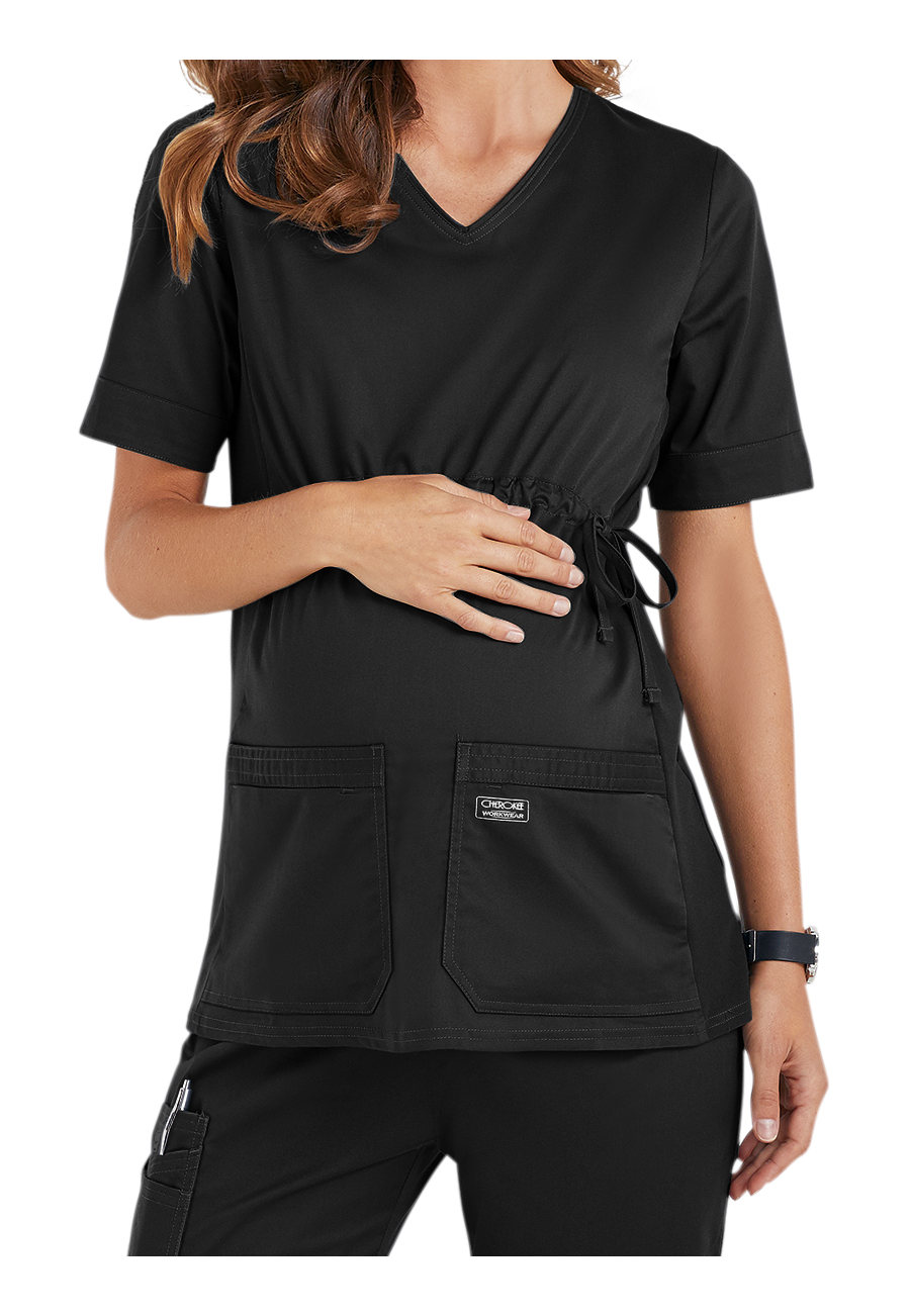 Cherokee Workwear Core Stretch Maternity V-neck Knit Panel Scrub Tops