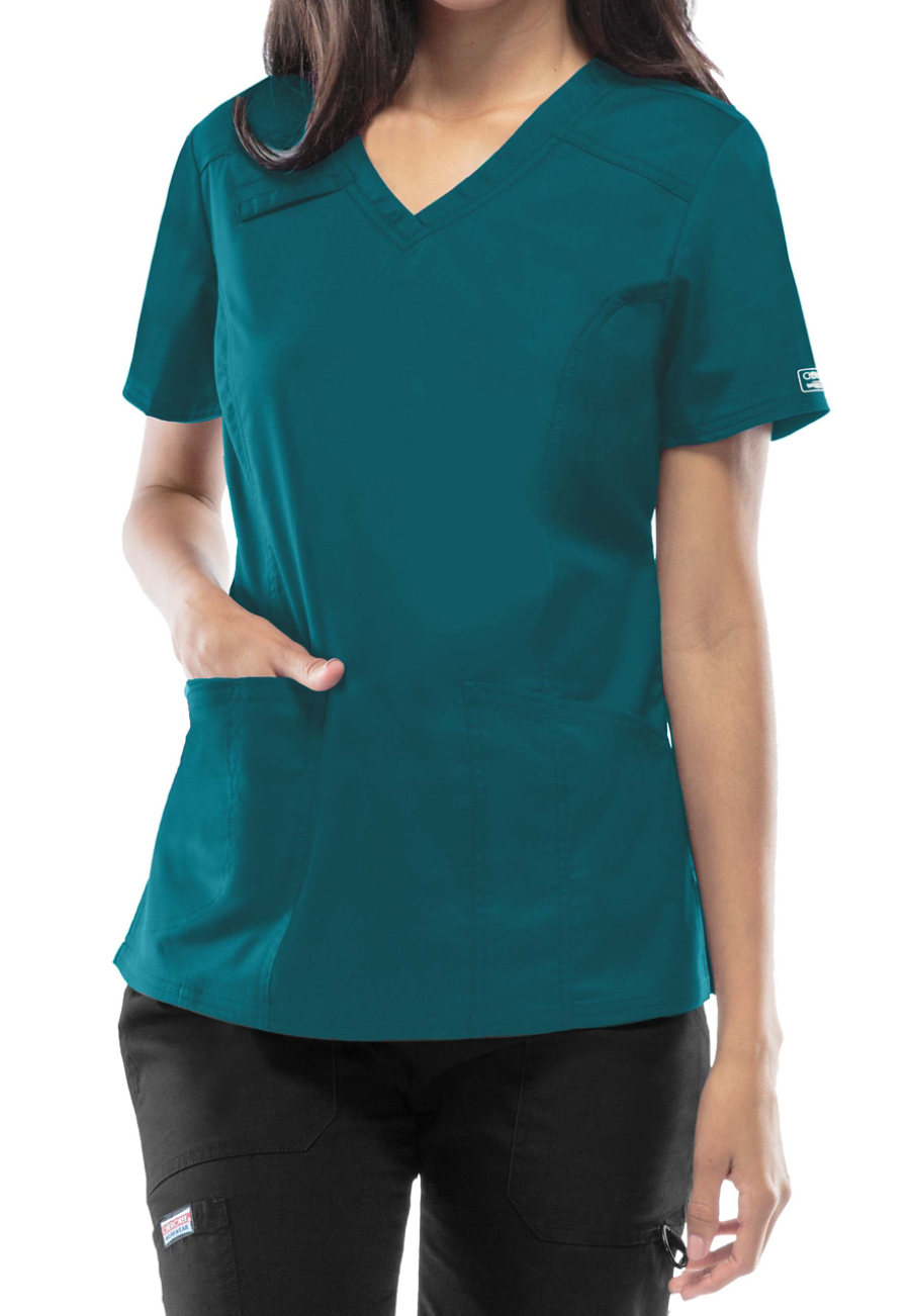Cherokee Workwear Core Stretch V-neck Scrub Tops - Caribbean - S plus size,  plus size fashion plus size appare