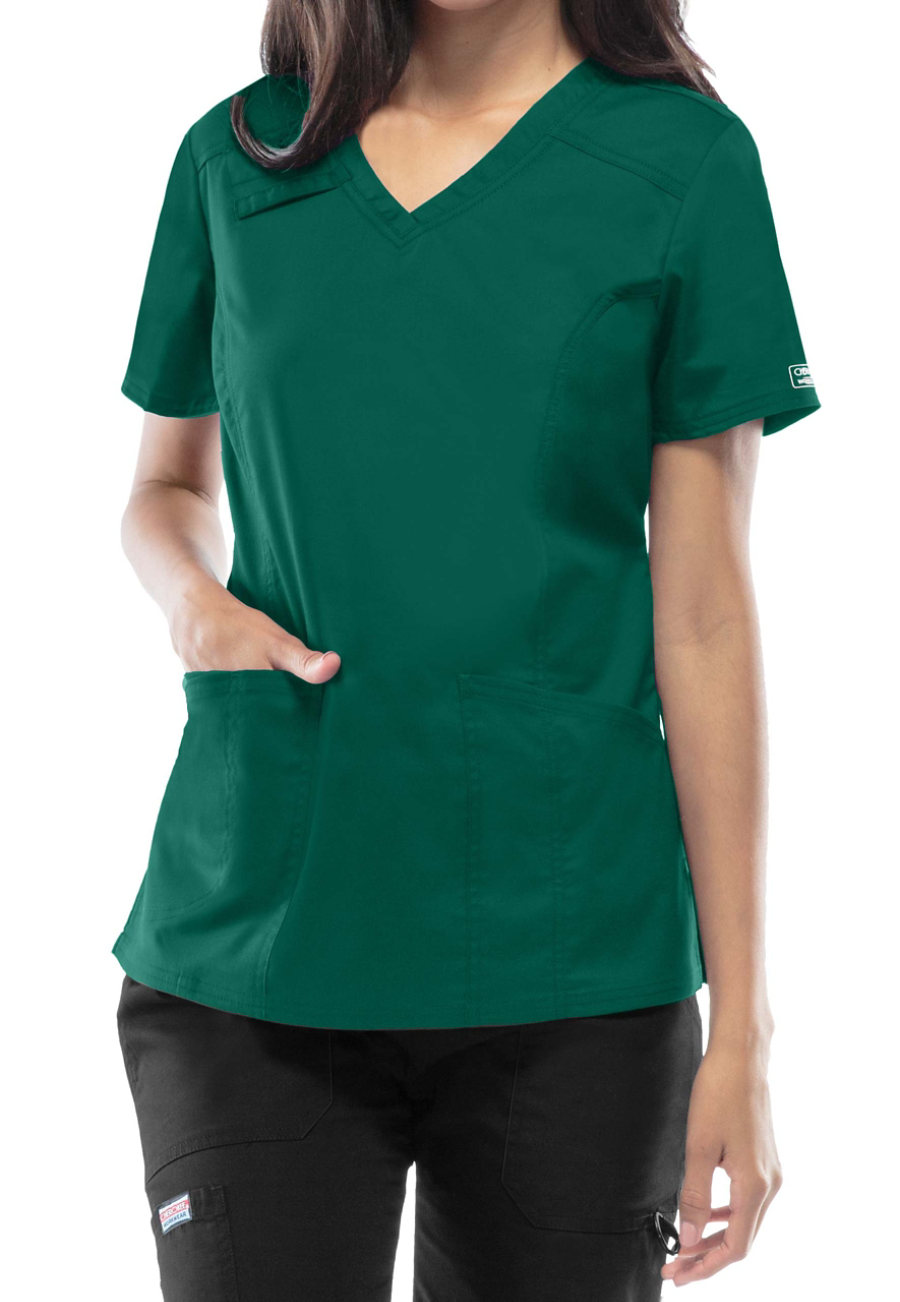 Cherokee Workwear Core Stretch V-neck Scrub Tops - Hunter - XL plus size,  plus size fashion plus size appare
