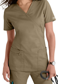 Cherokee Workwear Core Stretch Mock-wrap Scrub Tops