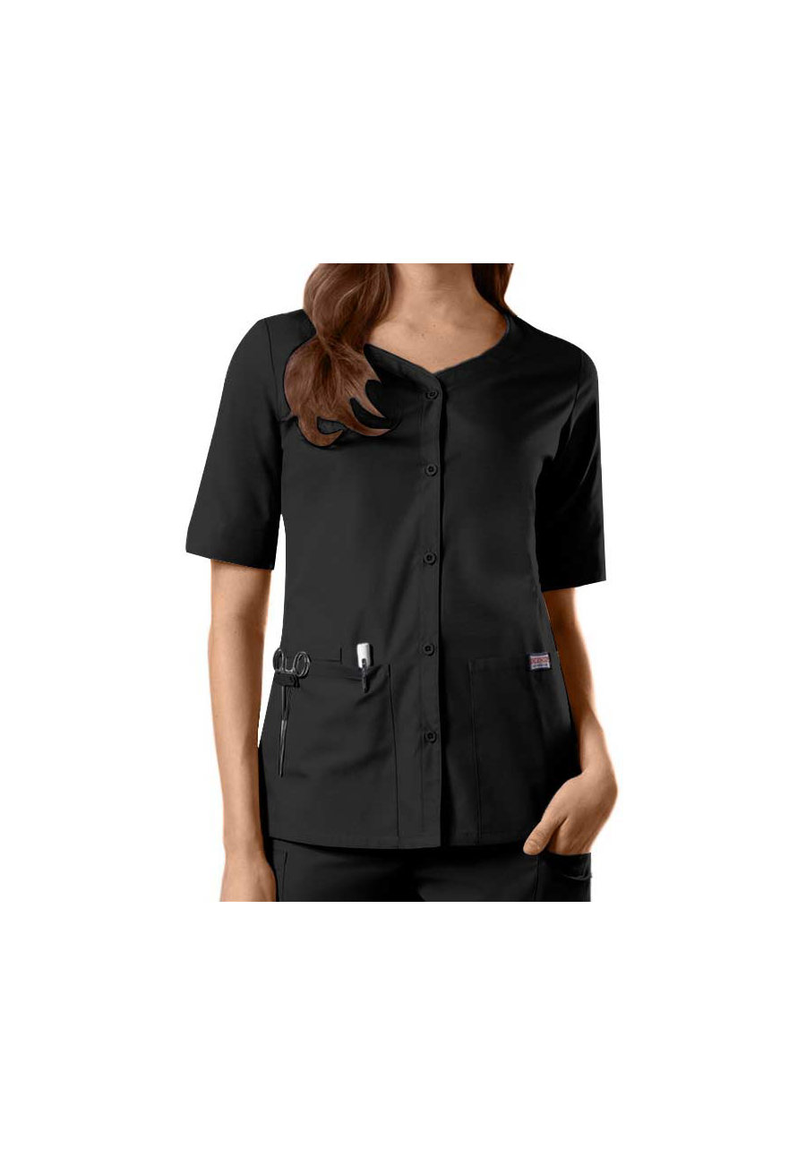 Cherokee Workwear Button Front Scrub Tops