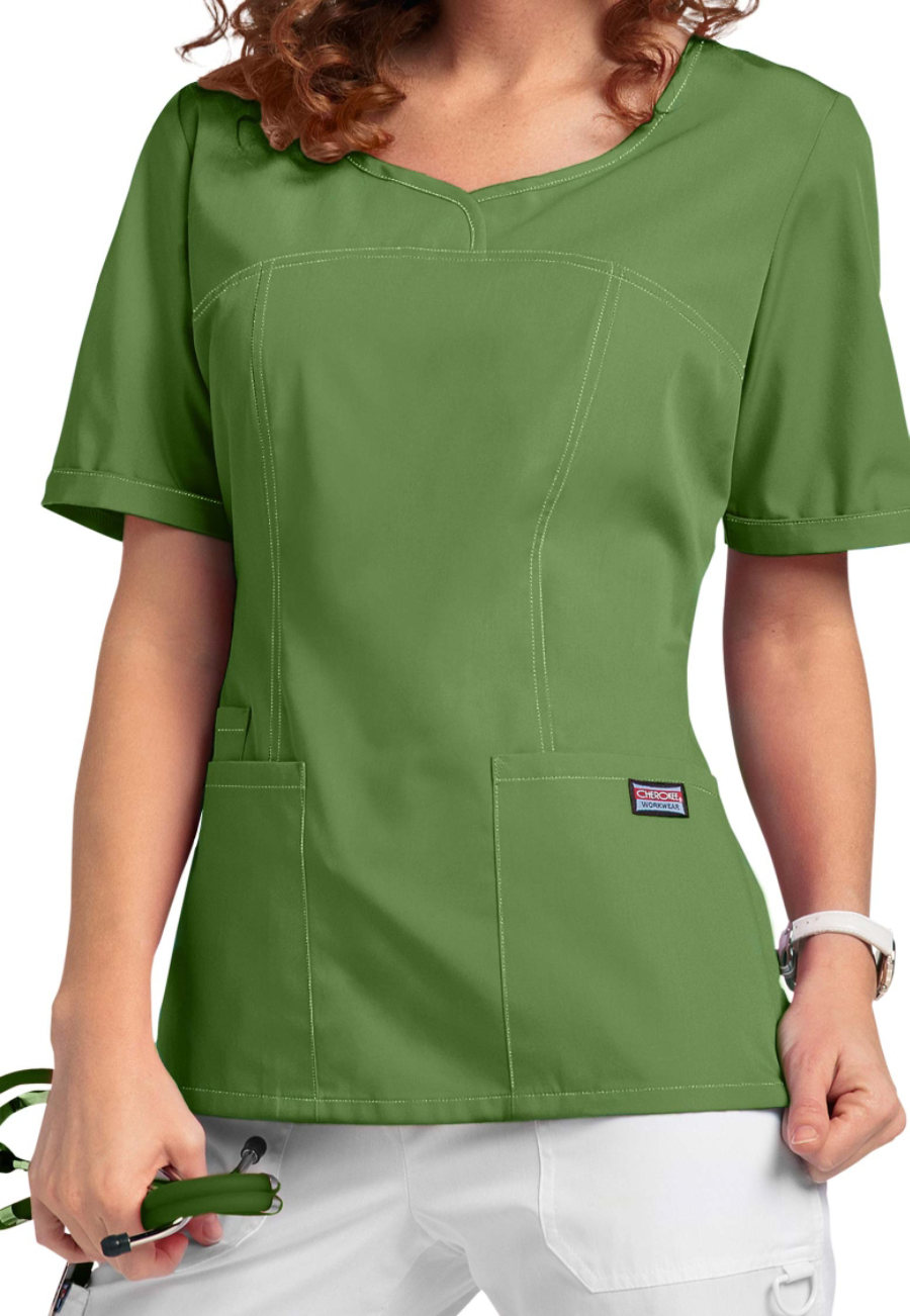 Cherokee Workwear Curved V-neck Scrub Tops