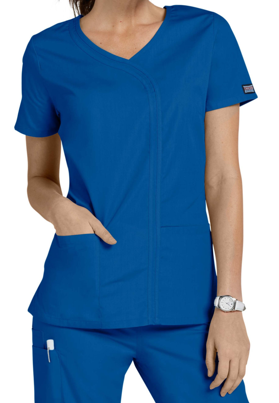 Cherokee Workwear Asymmetrical Mock-wrap Scrub Tops