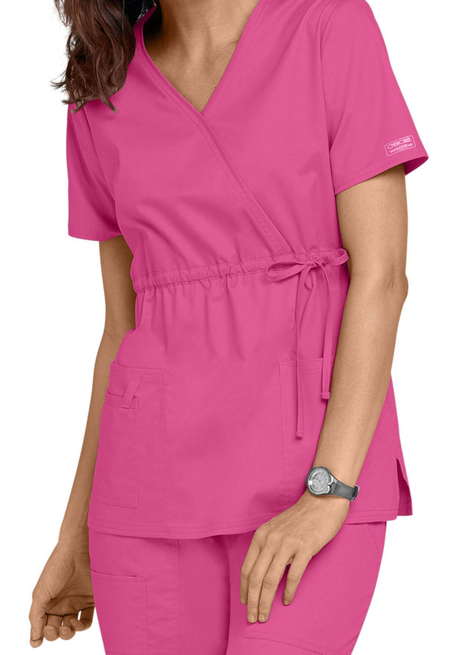 Cherokee Workwear Core Stretch Mock Wrap Scrub Tops