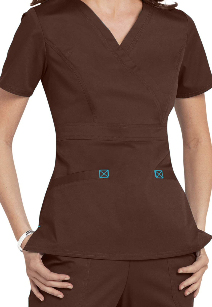Cherokee Workwear Core Stretch Mock Wrap Scrub Tops - Chocolate/Turquoise - XS plus size,  plus size fashion plus size appare