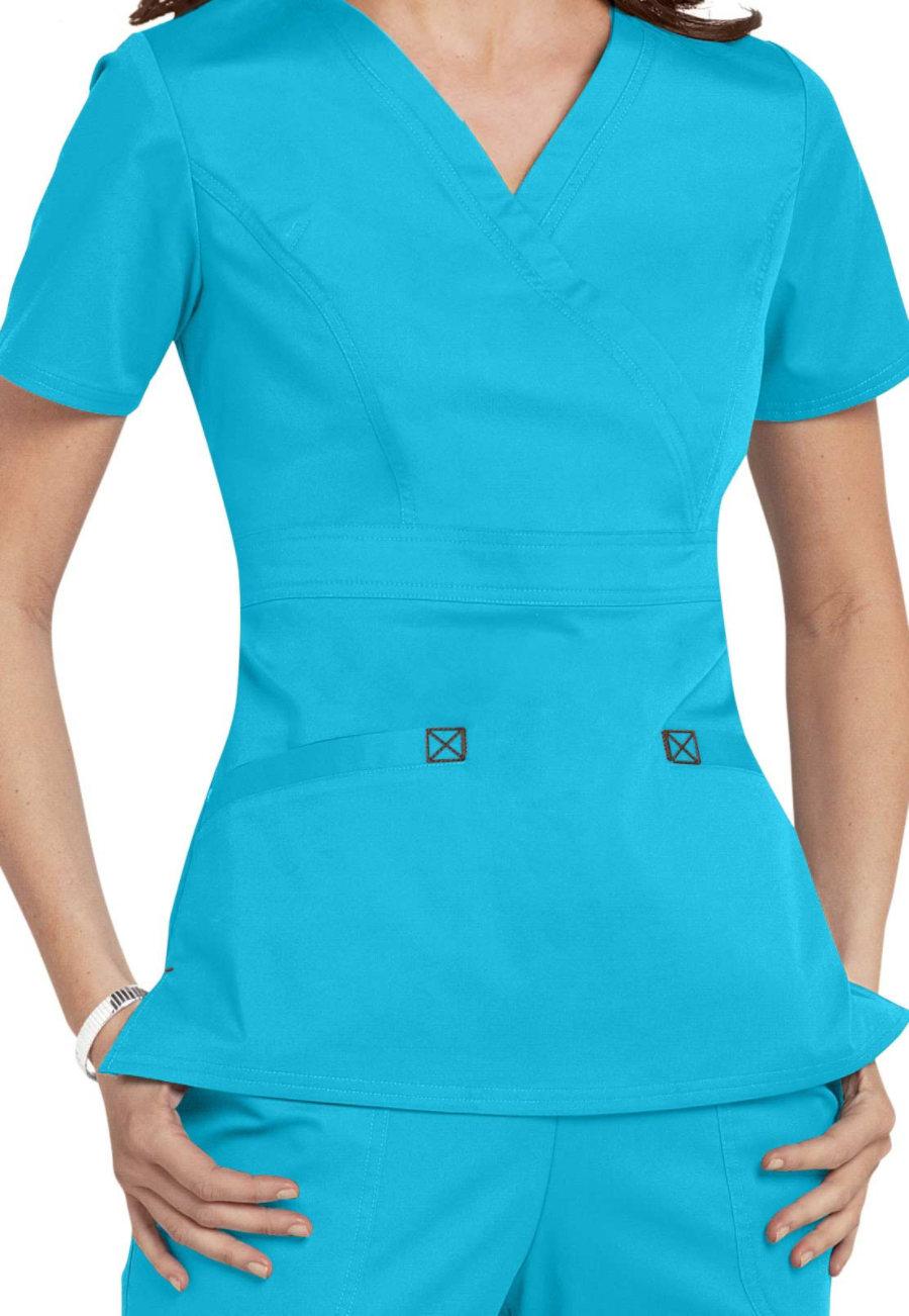 Cherokee Workwear Core Stretch Mock Wrap Scrub Tops - Turquoise/Chocolate - M plus size,  plus size fashion plus size appare