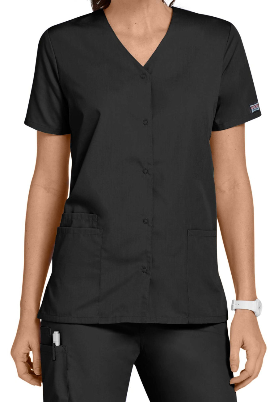 Cherokee Workwear Snap Front V-Neck Scrub Tops - Black - M plus size,  plus size fashion plus size appare