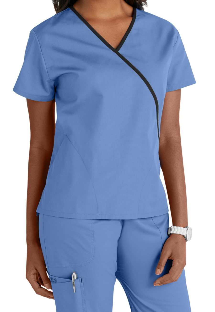 Cherokee Workwear Contrast Trim Scrub Tops - Ceil - S plus size,  plus size fashion plus size appare