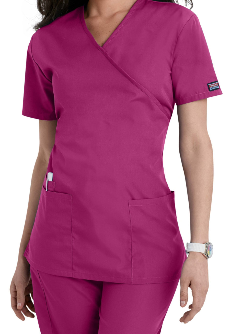 Cherokee Workwear Mock-wrap Scrub Tops