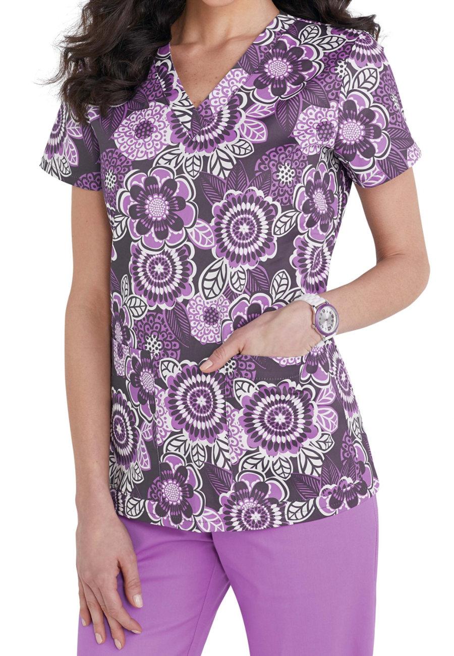 Med Couture Charcoal Fall Petals V-neck Print Scrub Top