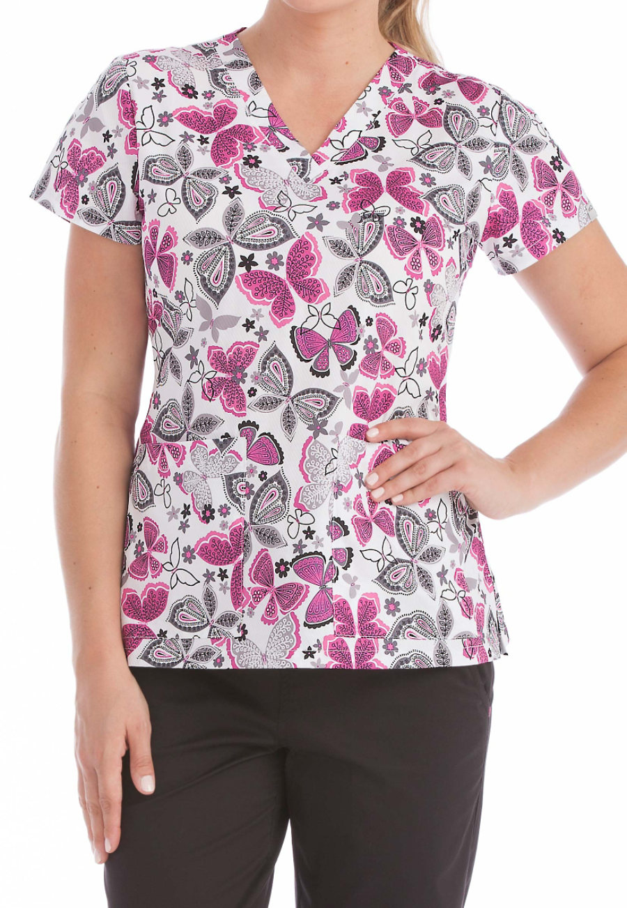 Med Couture Flutter Fun Curved Neck Print Scrub Top