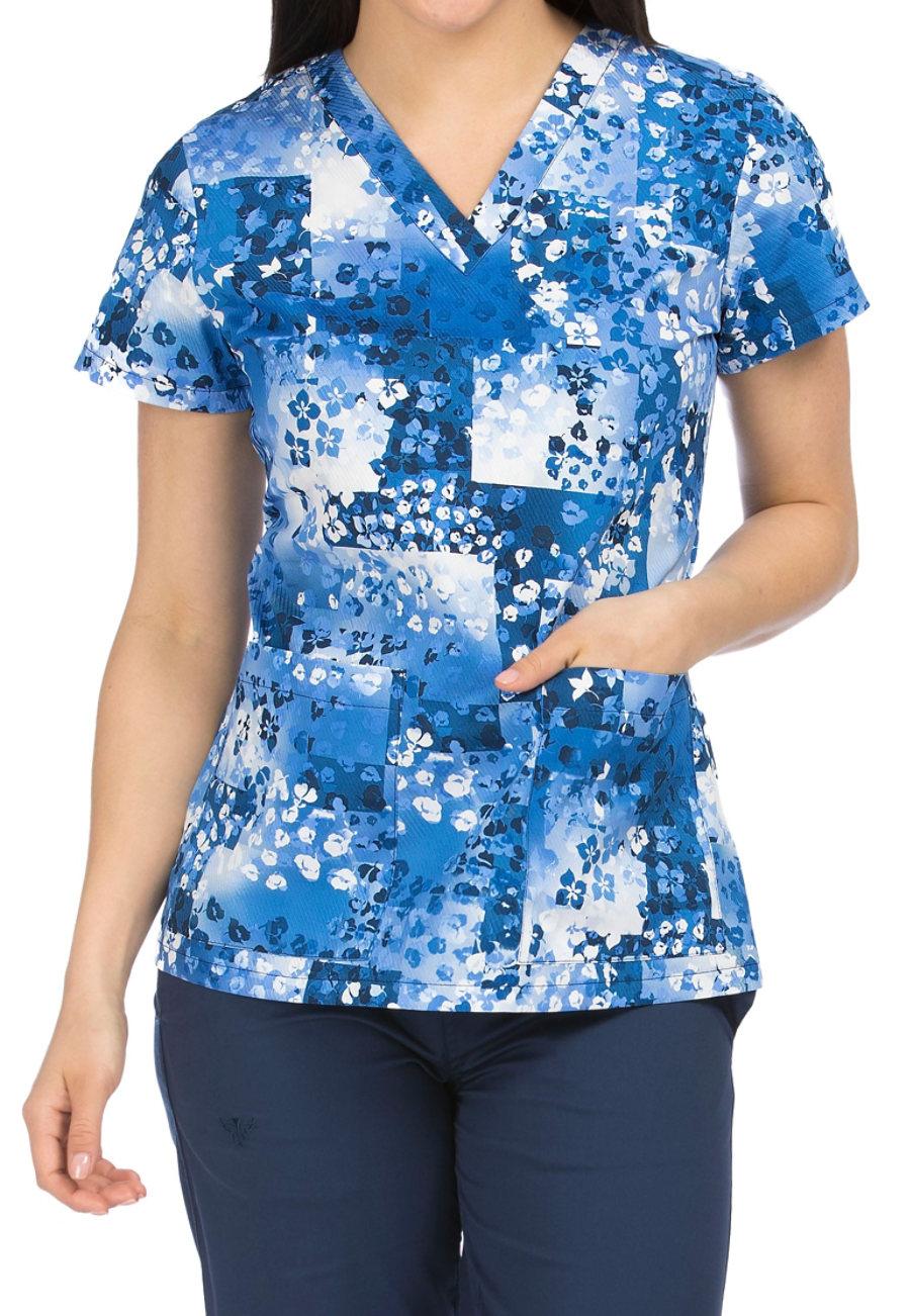 Med Couture Floral Frames V-neck Print Scrub Top