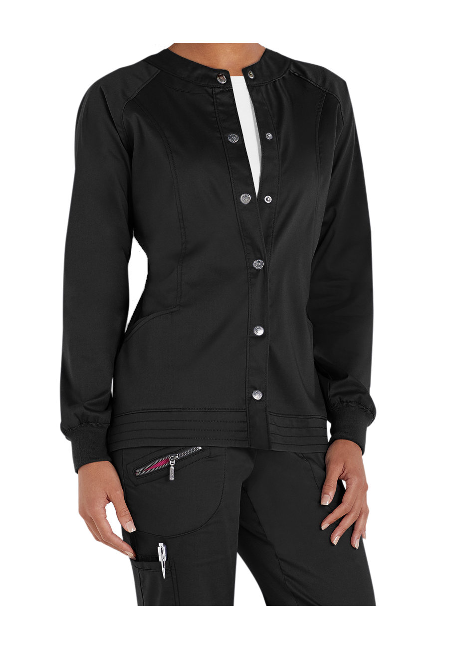 Beyond Scrubs Erin Snap Front Scrub Jacket - Black - 2X plus size,  plus size fashion plus size appare